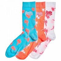 [해외]슈퍼드라이 Palms Socks Triple Pack Mint / Coral / White