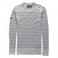 [해외]슈퍼드라이  Orange Label Stripe Crew Grey Twist / Dark Navy