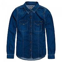 [해외]슈퍼드라이  Western Denim Shirt Mid Blue Indigo