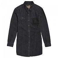 [해외]슈퍼드라이  Oversized Denim Shirt Washed Black