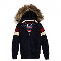[해외]슈퍼드라이  Super Ski Dog Hood Navy Black Twist / Off White / Red