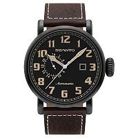 [해외]싼토 6102 Big Aviator Automatic Black Steel / Black / Leather Brown