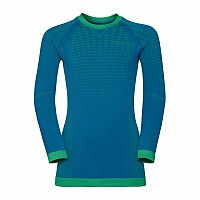 [해외]오들로 Evolution Warm Shirt L/S Crew Neck Mykonos Blue / Classic Green