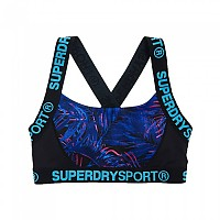 [해외]슈퍼드라이 Sport Colourblock Printed Bra Tropical Vibe Print / Black