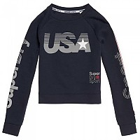 [해외]슈퍼드라이 Gym Tech USA Crop Crew Dark Navy