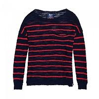[해외]슈퍼드라이 Rio Slub Pocket Knit Navy / Wild Pink Stripe