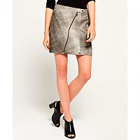 [해외]슈퍼드라이 Distressed Leather Biker Skirt Empire Grey
