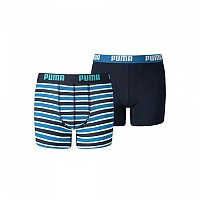 [해외]푸마 UNDERWEAR Basic Boxer Printed Stripe 2 Pack Blue