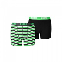 [해외]푸마 UNDERWEAR Basic Boxer Printed Stripe 2 Pack Classic Green