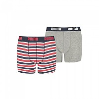 [해외]푸마 UNDERWEAR Basic Boxer Printed Stripe 2 Pack Ribbon Red