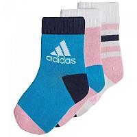 [해외]아디다스 Little Kids Ankle 3 Pair White / True Pink / Shock Cyan