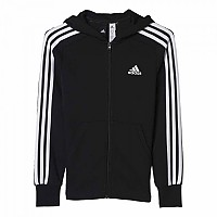 [해외]아디다스 3 Stripes Full Zip Hoodie Black / White / White