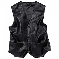 [해외]SPIRIT MOTORS Leather Vest 1 0 Buttoned Black