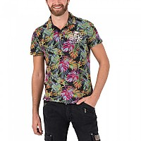 [해외]TIMEZONE Washed Hawaii Poloshirt Colourful Black Jungle