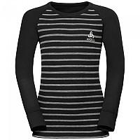 [해외]오들로 Shirt L/S Crew Neck Warm Kids Black / Grey Melange / Stripes