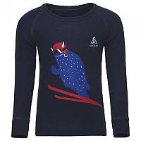 [해외]오들로 Warm Trend Small Shirt L/S Crew Neck Diving Navy / Placed Print Ss18