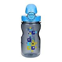 [해외]날진 OTF Kids Bottle 350ml Gray with Squares motif / Loop-Top Blue and White