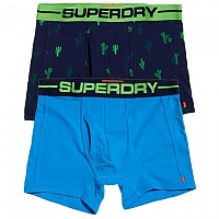[해외]슈퍼드라이 Sport Boxer Double Pack Cal Cactus Bright / Coastal Blue