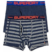 [해외]슈퍼드라이 Sport Boxer Double Pack Navy Marl / Polo Stripe Nvy Marl