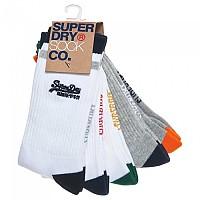 [해외]슈퍼드라이 Vintage Logo Sock Black / Optic / Grey Marl