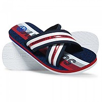 [해외]슈퍼드라이 Trophy Cross Strap Flip Flop Navy Grit / White / Super Red