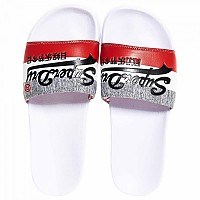 [해외]슈퍼드라이 Vintage Logo Pool Slide Optic White / Red / Grey Grit
