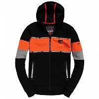 [해외]슈퍼드라이 Gym Tech Stretch Blocked Zip Hoodie Black / Acid Orange