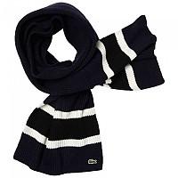 [해외]라코스테 Contrast Striped Ribbed Wool Navy Blue / Black Fluor