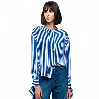 [해외]리플레이 All Over Stripes Viscose Crepe White / Royal / Black