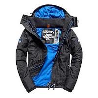 [해외]슈퍼드라이 Hood Quilt Athletic Wndcheater Black Marl / Denby Blue