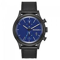 [해외]닉슨 Station Chrono Leather All Black / Blue
