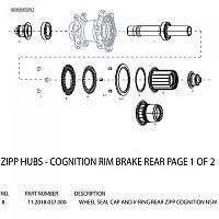 [해외]ZIPP Cognition Rear Hub Driveside Seal Cap And V-Ring Black