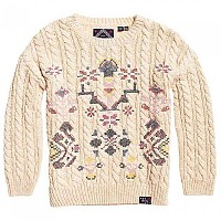 [해외]슈퍼드라이 Rodeo Cross Stitch Knit Winter White