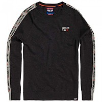 [해외]슈퍼드라이 Stacked Logo Striped Crew Dark Charcoal