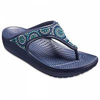 [해외]크록스 Sloane Embellished Flip- Beaded Navy / Turquoise