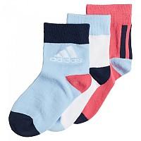 [해외]아디다스 Little Kids Ankle 3 Pair Real Pink / White / Bright Blue