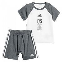 [해외]아디다스 Logo Summer Set Infant White / Dark Grey Heather / Black