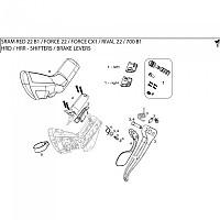[해외]스램 Shift Lever Assembly 레드 22 라이트 Black