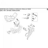 [해외]스램 Shift Lever Assembly 레드 22 Left Black