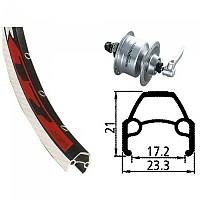 [해외]EXAL Rodi VR17 QR Dynamo Shimano DH3N72 Front Black / Red / Silver