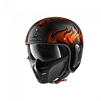 [해외]샤크 S-Drak 2 Carbon Dagon Convertible Helmet 9137370392 Carbon / Orange