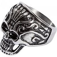 [해외]SPIRIT MOTORS Stainless 스틸 Ring 위드 Skull 2.0 Silver / Black