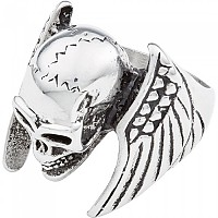 [해외]SPIRIT MOTORS Stainless 스틸 Ring Winged Skull Silver