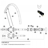 [해외]마빅 6 Bolt Disc ID360 Rear Axle With Circlips 1137660341 Silver / Black