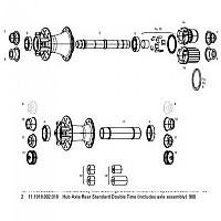 [해외]스램 Standard Double Time Axle For 900 Rear Hub 1137779907 Black
