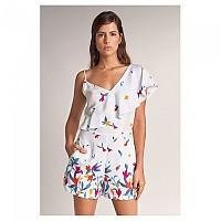 [해외]SALSA JEANS Floral Assymetric Short Jumpsuit 137878933 White