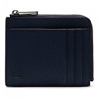[해외]라코스테 Chantaco Matte Pique Leather Zip 4 Card Holder 137479733 Peacoat