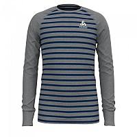 [해외]오들로 Shirt L/S Crew Neck Warm Kids 5137498429 Grey Melange / Estate Blue / Stripes