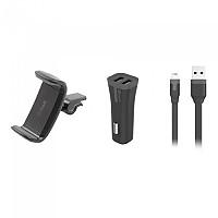 [해외]MUVIT Air Vent Mobile Car Support 6.2 Inches With 2 USB 2A Charge Ports And USB To Lightning MFI Cable 1m Pack 1137555713 Black