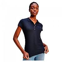 [해외]타미힐피거 Crystal Embellished Logo Slim Fit Short Sleeve Polo Shirt Desert Sky